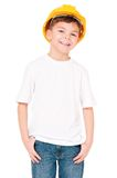 Boy in hard hat Royalty Free Stock Image