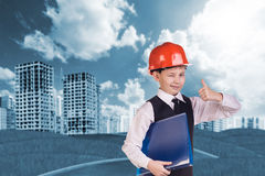 The boy in hardhat Stock Image