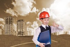 The boy in hardhat Royalty Free Stock Images