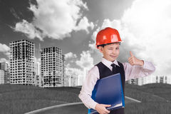 The boy in hardhat Royalty Free Stock Photos