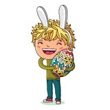 Boy with hare ears and with a large egg Royalty Free Stock Photography