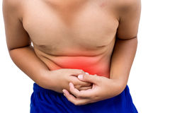 The boy has abdominal. Pain instead of the intensity in red Stock Photo