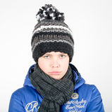 Boy has a cold. Young boy with hat, scarf has a cold Stock Photos