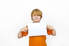 Boy has control over the empty poster Stock Photos
