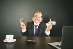 Boy has earned a lot of money Royalty Free Stock Photo