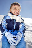 Boy has fun in the mountains royalty free stock photo