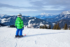 Boy has a fun on ski Stock Photography