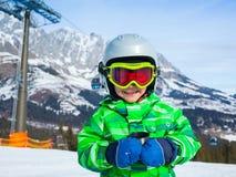 Boy has a fun on ski Royalty Free Stock Photography
