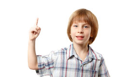 Boy has idea isolated on white Stock Photos