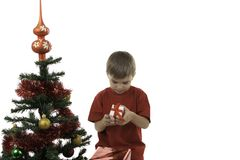 The boy has received gifts Stock Photo