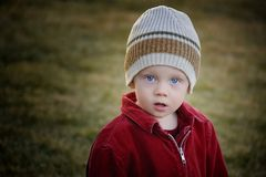 Boy in a hat. A young child wearing his hat Stock Photography