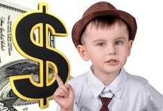 Little boy points at dollar royalty free stock photography