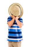 Boy and hat Stock Images