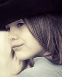 Boy with hat. Portrait of a boy with a black hat in close-up Stock Images