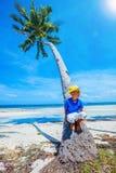 Boy in hat, sea beach Royalty Free Stock Image