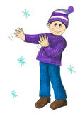 Boy with hat in the winter Stock Image