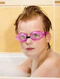 Boy have fun in the bathroom. Royalty Free Stock Images