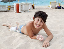 The  Boy is have fun at the Beach Stock Photos