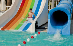 The Boy  is Have Fun in the Waterpark Stock Photo