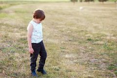 Boy have an outdoor walk Stock Photography
