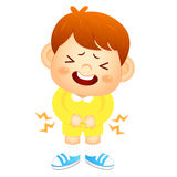 Boy is have a stomachache. Education and life Character Design s Royalty Free Stock Photos