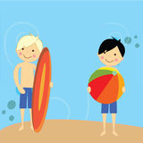 Boy having fun beside beach. Boys having fun on beach , boy holding a colorful ball and a boy with a surf board Royalty Free Stock Images
