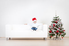 Boy having fun at Christmas Royalty Free Stock Photography