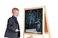Boy having fun drawing Royalty Free Stock Photo