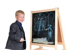 Boy having fun drawing Royalty Free Stock Photo