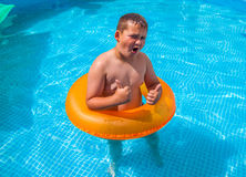 Boy in having fun in the swimming pool. Little boy in having fun in the swimming pool Royalty Free Stock Images