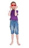 Boy having fun wearing 3D glasses. On white background Royalty Free Stock Photo