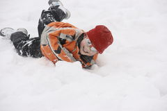 Boy having great fun in snow Royalty Free Stock Photo