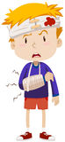 Boy having head and arm injury. Illustration Stock Photo