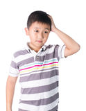 Boy having a headache holding his head with his hand, isolated on the white background Royalty Free Stock Images