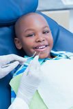 Boy having his teeth examined by dentist Royalty Free Stock Image