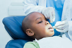 Boy having his teeth examined by dentist Royalty Free Stock Photos