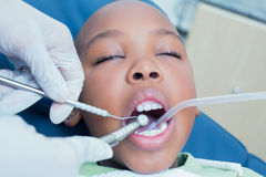 Boy having his teeth examined by dentist Royalty Free Stock Photos