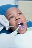 Boy having his teeth examined by dentist Stock Photography