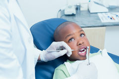 Boy having his teeth examined by dentist Stock Photo