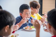 Boy having lunch with friends at school canteen. Young asian boy having lunch with friends at school canteen stock photos