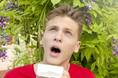 Boy having problem with allergies Royalty Free Stock Photo