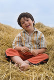 The boy  on hay Stock Photo