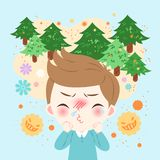 Boy with hay fever. Cute cartoon boy get hay fever and feel uncomfortable Stock Photography