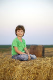 Boy in a haystack in the field Stock Images