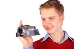 Boy with HDV camera Royalty Free Stock Images
