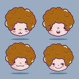Boy head with emotion faces message. Vector illustration Royalty Free Stock Images