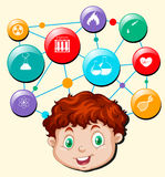 Boy head and science and technology symbols Royalty Free Stock Photography