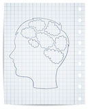 Boy head with thought template Royalty Free Stock Photography