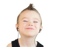 Boy with headphones. Young boy with headphones, on white background Stock Images