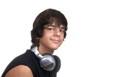 Boy with headphones. Young boy listening to music with headphones Stock Images